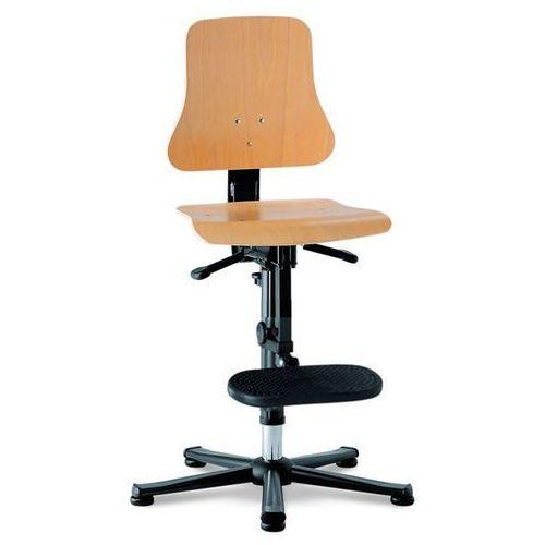 Obrotowe krzesło do pracy, siedzisko ze sklejki bukowej, na ślizgaczach z podnóż