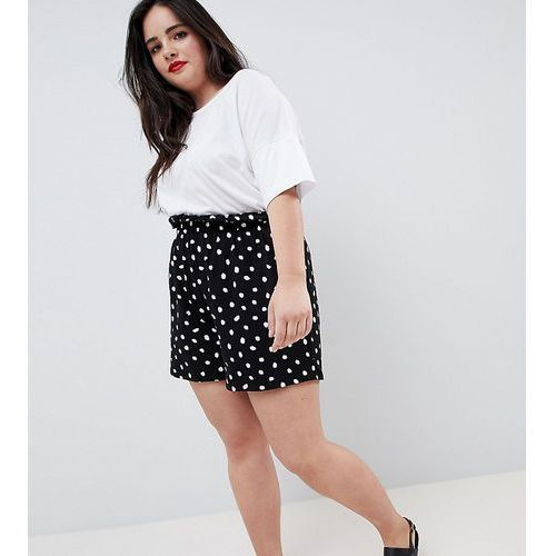 Asos design curve culotte shorts with paperbag waist in blurred spot print - black, Asos curve