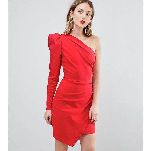 Asos tall ultimate one shoulder mini dress with long sleeve - red