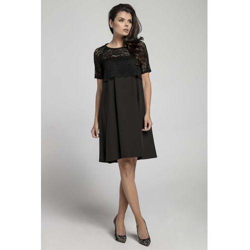 2e05bfd68e Nommo Czarna wizytowa sukienka trapezowa z koronkową nakładką 124