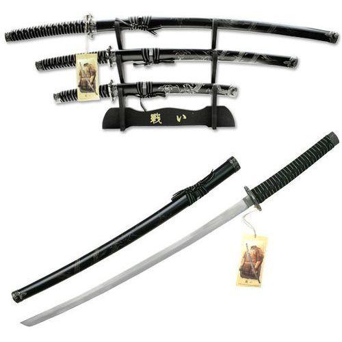 Usa Zestaw 3 mieczy samuraja ze stojakiem smok rzeźbiony na pochwie (yk-58d4)