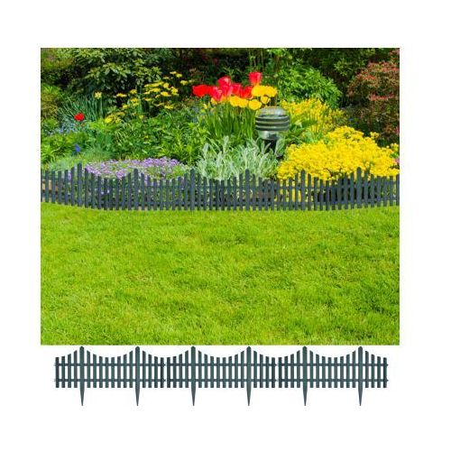 Zielone ogrodzenie trawnika, 17 części / 10 m, produkt marki vidaXL