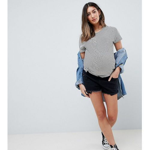 Asos design maternity tall denim mid rise short with raw hem in washed black - black, Asos maternity