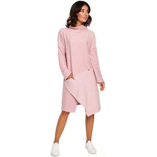 d3a98bdb32 Pudrowa Asymetryczna Sukienka z Golfem