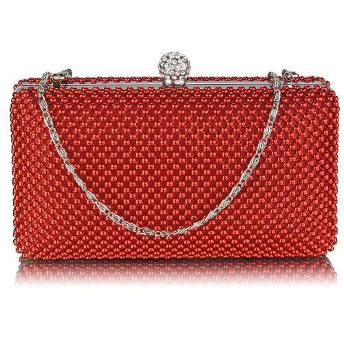 786f725ef295f Czerwona torebka wizytowa z drobnymi koralikami - czerwony