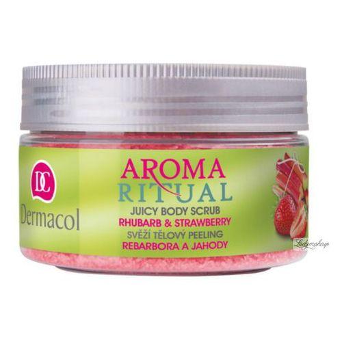 - aroma ritual - juicy body scrub - rhubarb & strawberry - scrub do ciała o zapachu rabarbaru i truskawek marki Dermacol