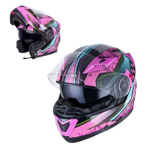 Kask motocyklowy szczękowy z blendą ym-925 magenta, różowo-czarny, xs (53-54) marki W-tec