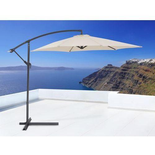 Parasol ogrodowy na wysiegniku - stojak metalowy – bezowy, Beliani z Beliani