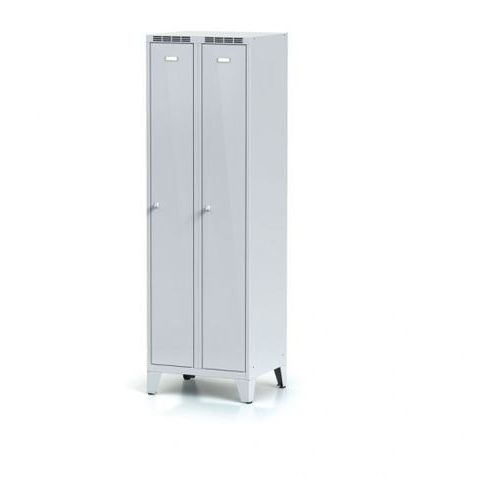 Metalowa szafka ubraniowa, na nogach, drzwi szare dwupłaszczowe, zamek obrotowy marki Alfa 3