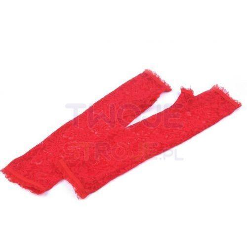 RĘKAWICZKI DŁUGIE KORONKOWE CZERWONE, kolor czerwony