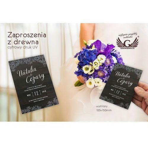 Zaproszenia ślubne z drewna - cyfrowy druk UV - ZAP019