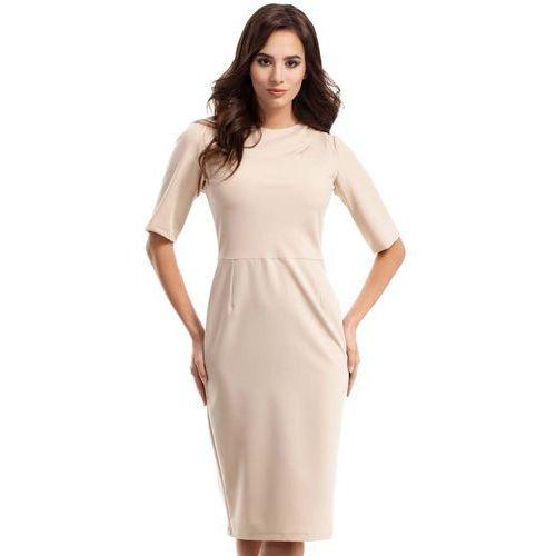 Beżowa Sukienka Elegancka Ołówkowa z Ozdobnym Marszczeniem, E276cr
