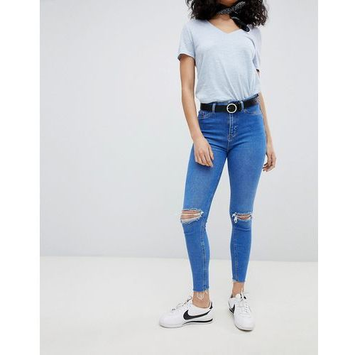New Look Hallie Disco High Rise Ripped Jeans - Blue, jeansy