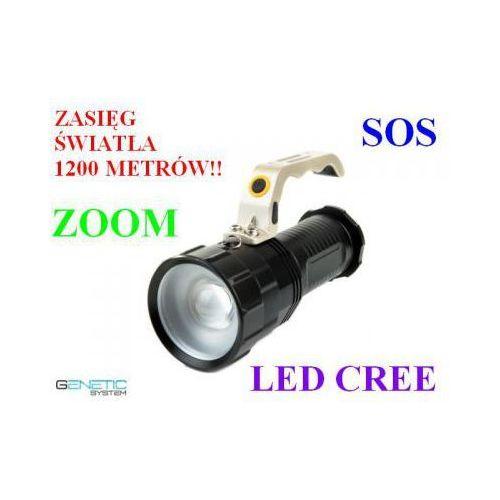 Profesjonalna Akumulatorowa Policyjna Latarka Szperacz (zasięg 1200m.!!) LED CREE + ZOOM + SOS...