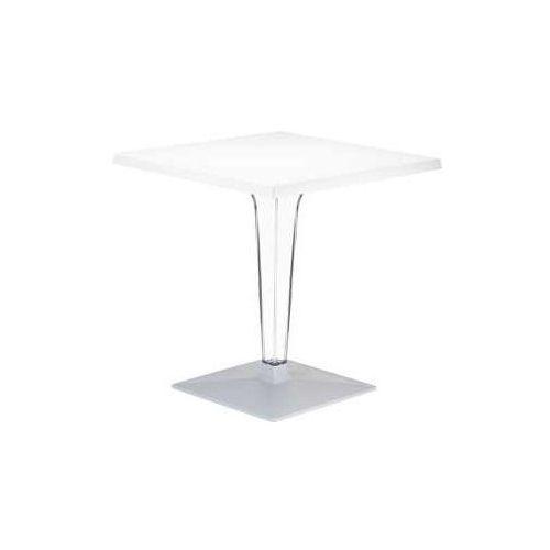 Stolik kawowy do salonu kwadratowy ICE biały 70x70cm