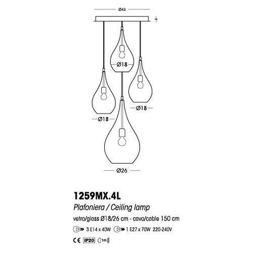 Cangini & Tucci Plafon Lacrima (szkło ryflowane) - R1259MX.4L, CT TR1259MX.4L