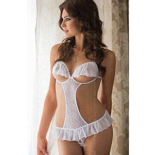 Soft line Sexy białe body z dziurką