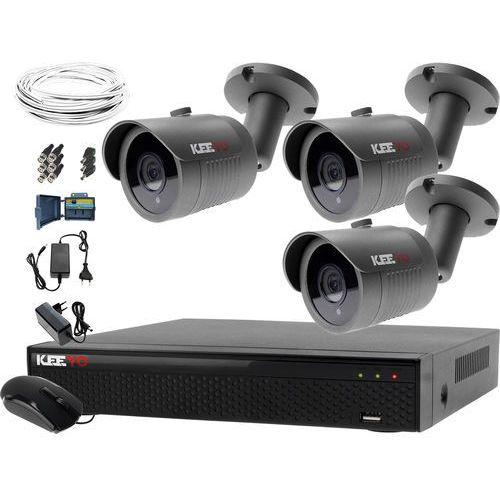 Keeyo System monitoringu domowy rejestrator lv-xvr44n-ii 3x kamera lv-al30ht akcesoria