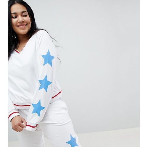 ASOS DESIGN Curve Lounge Star Loop Back Dorm Sweat - White