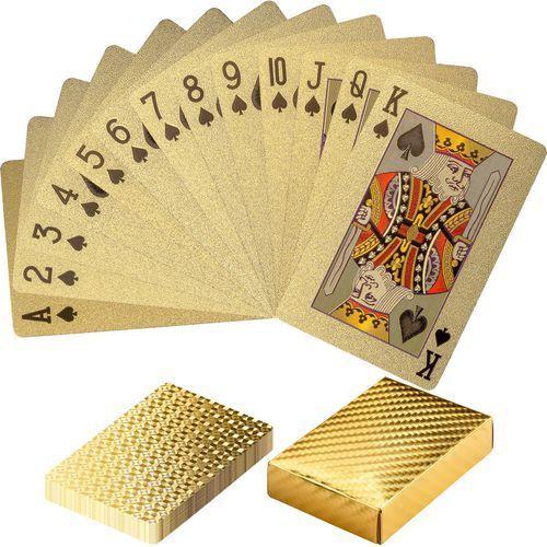 Mks Złote certyfikowane karty talia do gry w poker - złoty