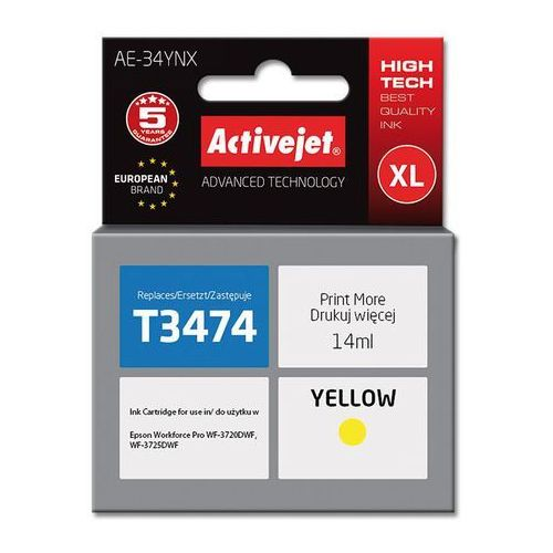 Tusz Activejet AE-34YNX (do drukarki Epson, zamiennik T3474 supreme 14ml yellow), EXPACJAEP0282