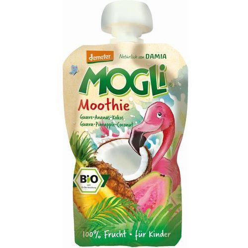 Mogli (moothie owocowe, batony, napoje) Moothie - przecier z guawą, ananasem i kokosem 100% owoców bez dodatku cukrów bio 100 g – mogli