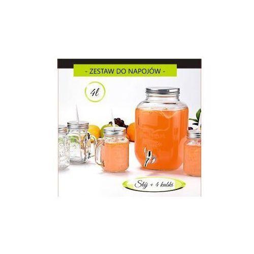 Zestaw szklany słój z kranikiem 4l + 4 kubki 450ml marki Feniks