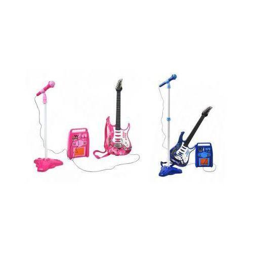 Gitara Elektryczna + Mikrofon + Wzmacniacz (2 kolory do wyboru: niebieski i różowy)., 590308622099