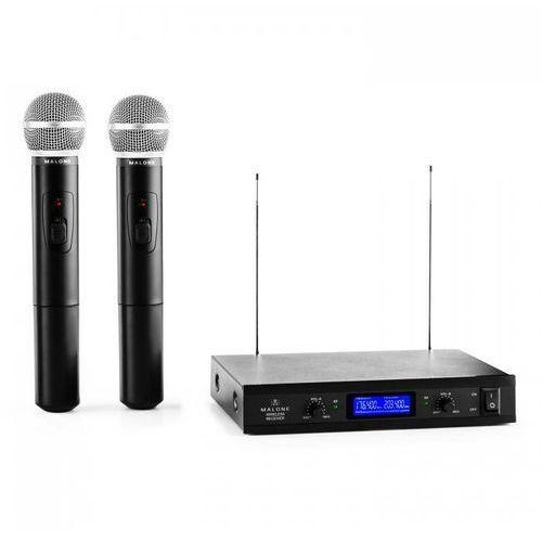 vhf-400 duo 1 2-kanałowy zestaw mikrofonów bezprzewodowych vhf 1x odbiornik + 2x mikrofon ręczny marki Malone