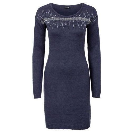 dd6f1f90a4 Sukienka dzianinowa z aplikacją z cekinów bonprix ciemnoniebiesko-srebrny