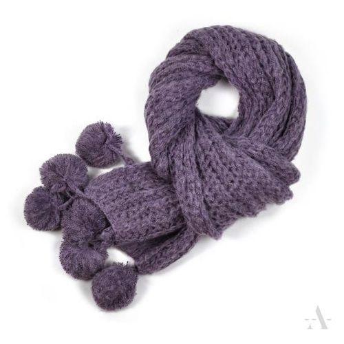Długi dzianinowy szalik damski z pomponami fioletowy - fioletowy, kolor fioletowy