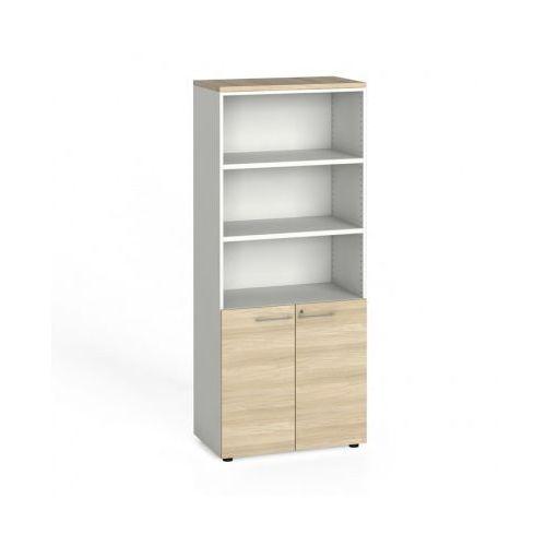 Szafa biurowa, drzwi na 2 półki, 1781x800x420 mm, biały / dąb naturalny