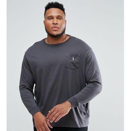 Polo Ralph Lauren Big & Tall Long Sleeve Pocket T-Shirt with Logo in Grey - Grey, w 2 rozmiarach