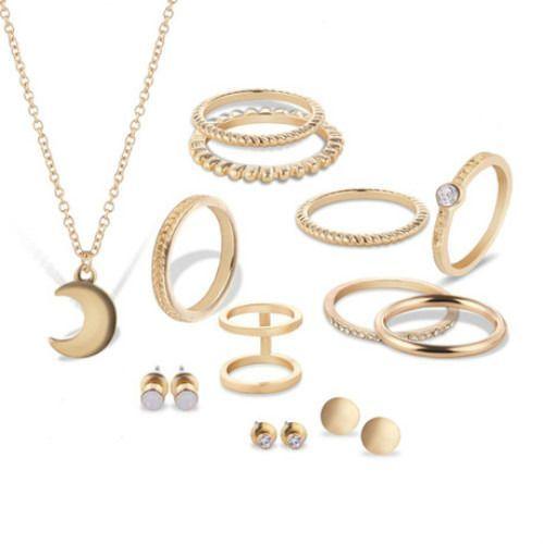 Cloe Zestaw biżuterii z księżycem złoty - złoty