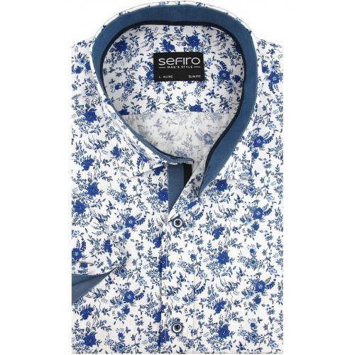 Koszula męska biała w niebieskie kwiaty slim fit na krótki rękaw k911, Sefiro