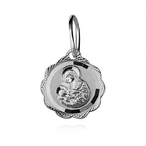 Produkt polski Srebrny medalik matka boska karmiąca diamentowany