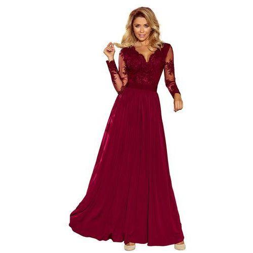 Bordowa Wieczorowa Sukienka Maxi z Koronkową Górą, kolor czerwony