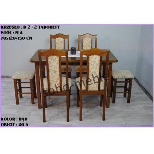 ZESTAW KRZYSZTOF 4 KRZESŁA B 2 + 2 TABORETY + STÓŁ M 4 70x120/150 CM (zestaw mebli kuchennych)