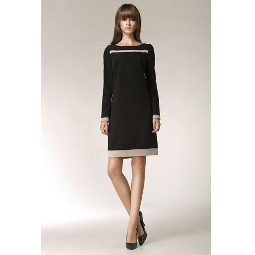 da907ee7a6 Czarna Elegancka Sukienka z Długim Rękawem i Beżowymi Panelami