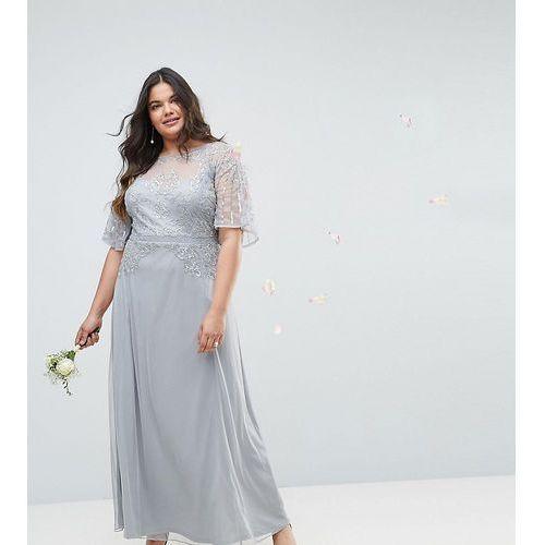 Asos design curve bridesmaid embellished lace insert flutter sleeve maxi dress - grey, Asos curve