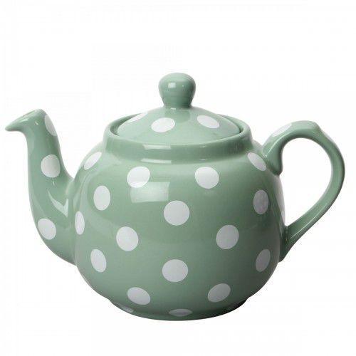 farmhouse filter dzbanek do herbaty, z filtrem, 1,2 l, zielony w kropki marki London pottery