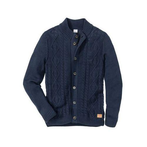 Sweter rozpinany w warkocze bonprix ciemnoniebieski, rozpinany