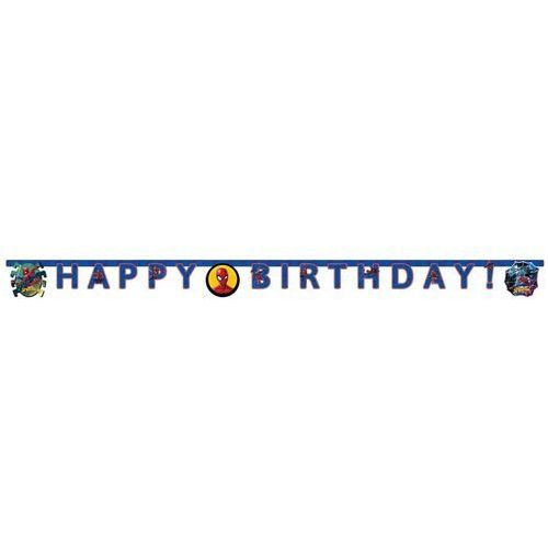 Baner urodzinowy happy birthday spiderman team up - 210 cm - 1 szt. marki Procos