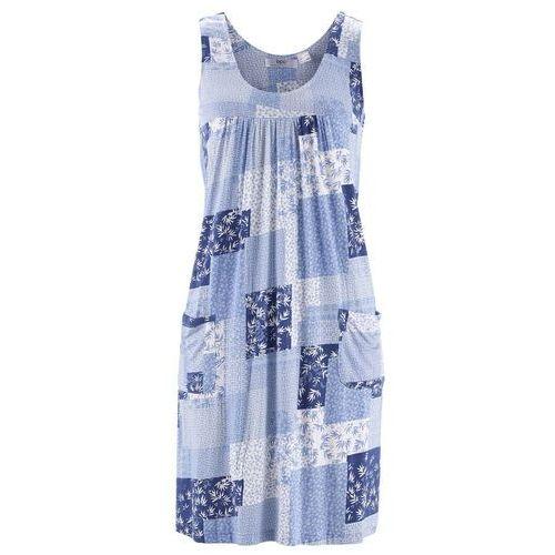 Sukienka ze stretchem perłowy niebieski z nadrukiem, Bonprix, 36-38