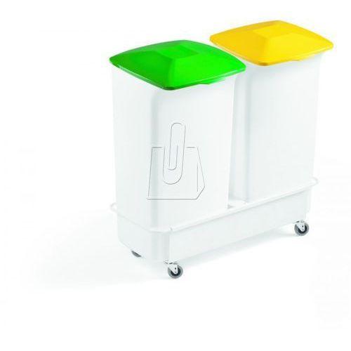 Zestaw dwóch pojemników 40L + wózek Durabin Square zielony i żółty 1809816050
