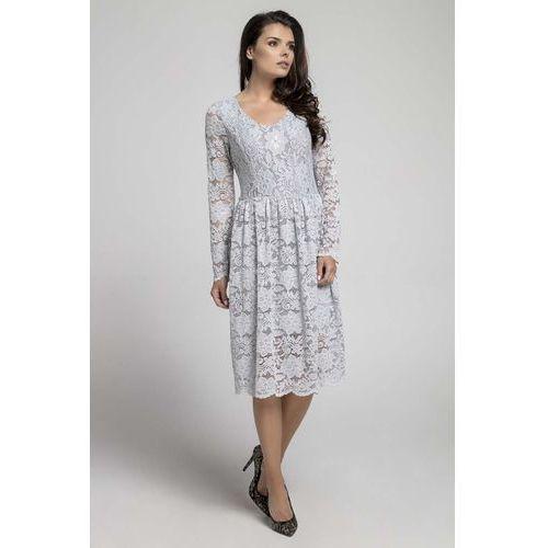 a1136375e4 Szara wizytowa rozkloszowana sukienka z koronki marki Nommo 149