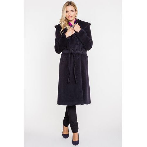 Długi płaszcz z alpaki i wełny dziewiczej - Vito Vergelis, kolor niebieski
