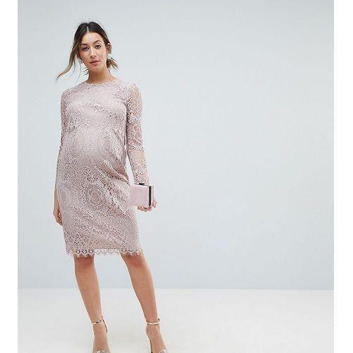 lace long sleeve midi pencil dress - pink marki Asos maternity