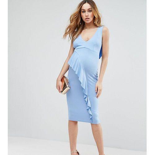 tall waterfall ruffle back midi bodycon dress - blue, Asos maternity