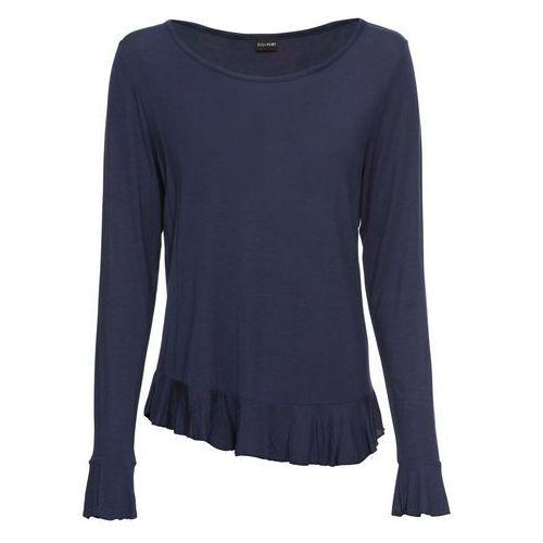 Długi shirt bonprix indygo-biały, kolor niebieski